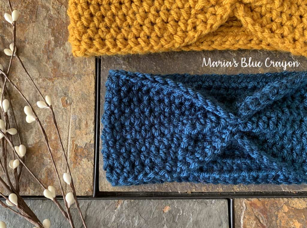 Crocheted Blue Knotted Headband Earwarmer