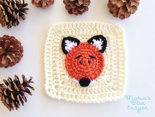 crochet fox applique pattern'