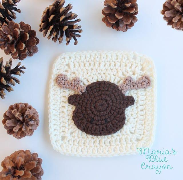 crochet moose applique pattern