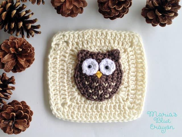 crochet owl applique pattern