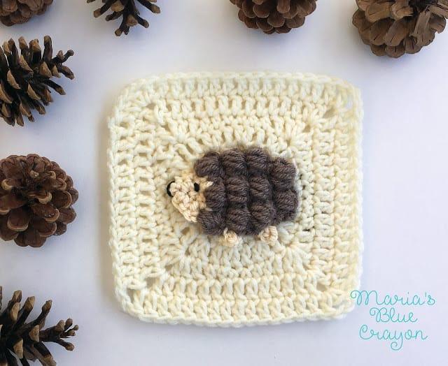 crochet hedgehog applique pattern