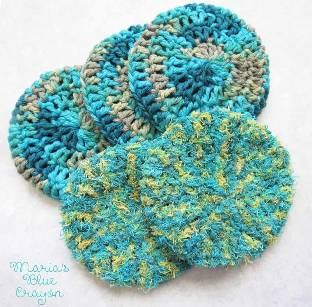 Double Sided Extra Thick Scrubby For Bath Kitchen Marias Blue
