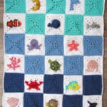 ocean themed granny square blanket