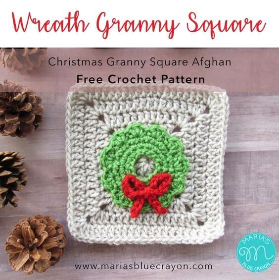 Week 8 Christmas Granny Afghan Cal Wreath Applique Free Crochet