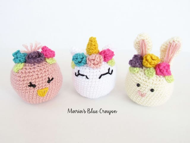 Crochet chick, unicorn, and bunny amigurumi