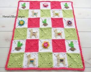 llama themed crochet blanket