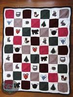 woodland themed crochet blanket