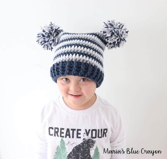 Crochet Pom Pom Hat for Kids