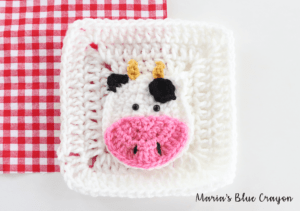 crochet cow applique