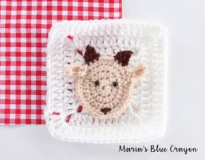 crochet goat applique