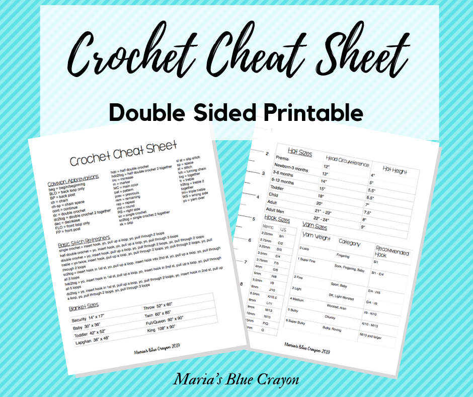 picture relating to Printable Cheat Sheet named Absolutely free Crochet Cheat Sheet Printable - Marias Blue Crayon