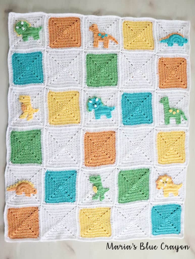 Crochet Dinosaur Granny Square Blanket - Free CAL - Maria's