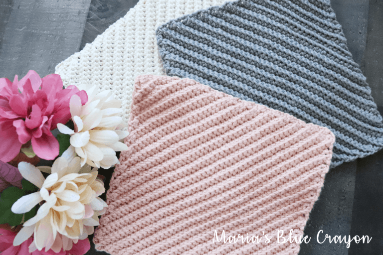 crochet dishcloth with diagonal textures