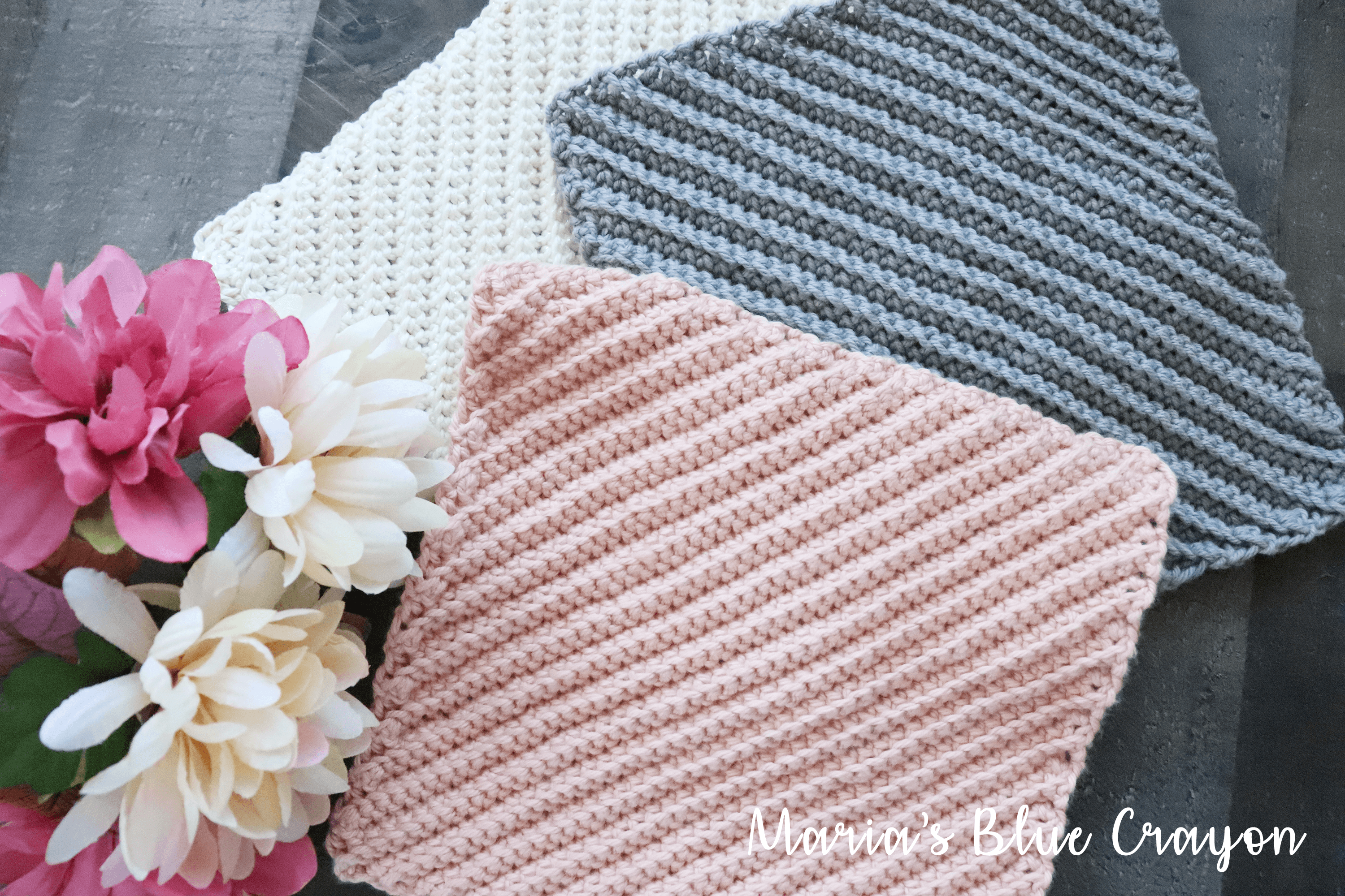 How To Crochet An Easy Textured Dishcloth Maria S Blue Crayon