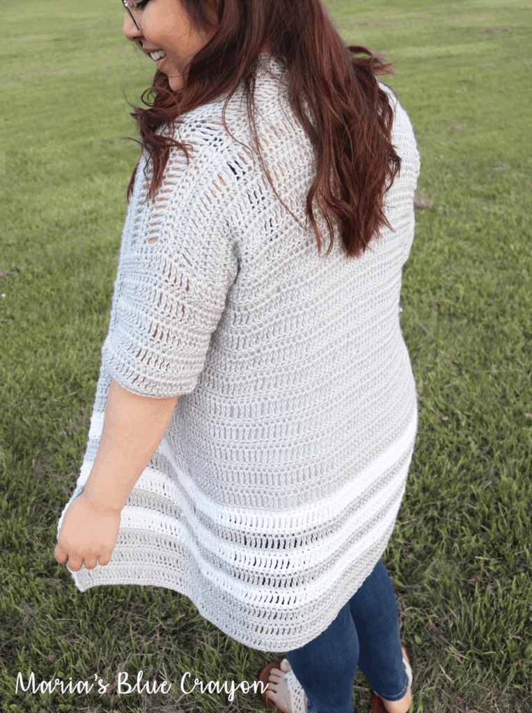 Long crochet cardigan with stripes