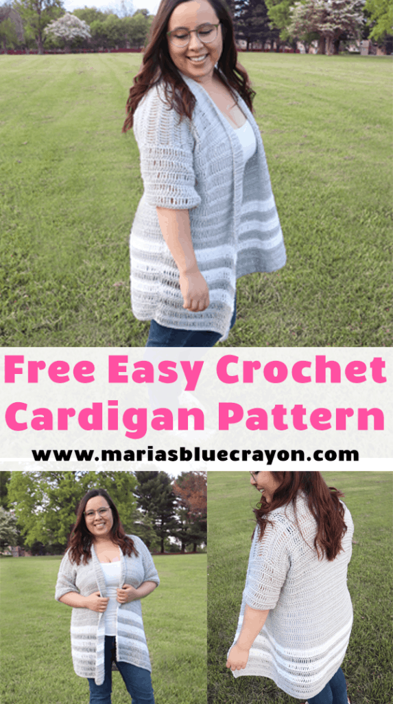 Pinterest PIN for Easy Breezy Crochet Cardigan Pattern