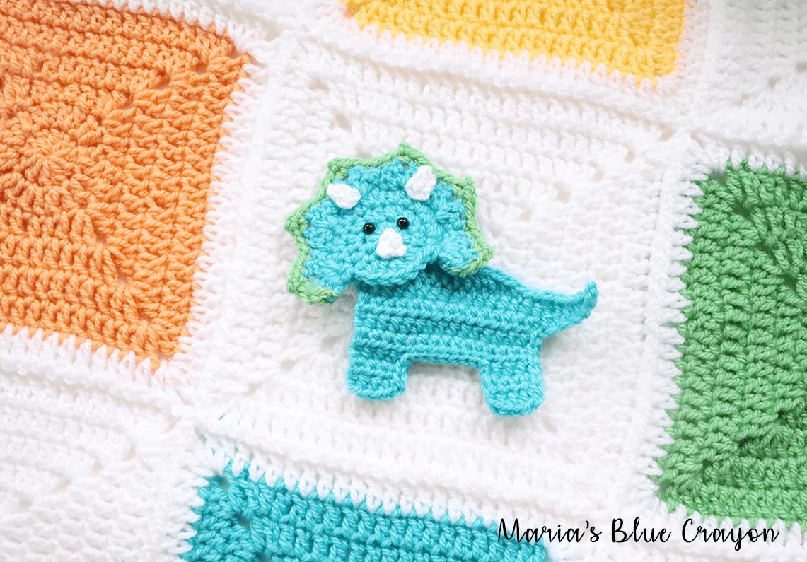 Crochet Dinosaur Granny Square Blanket Free Cal Marias Blue Crayon