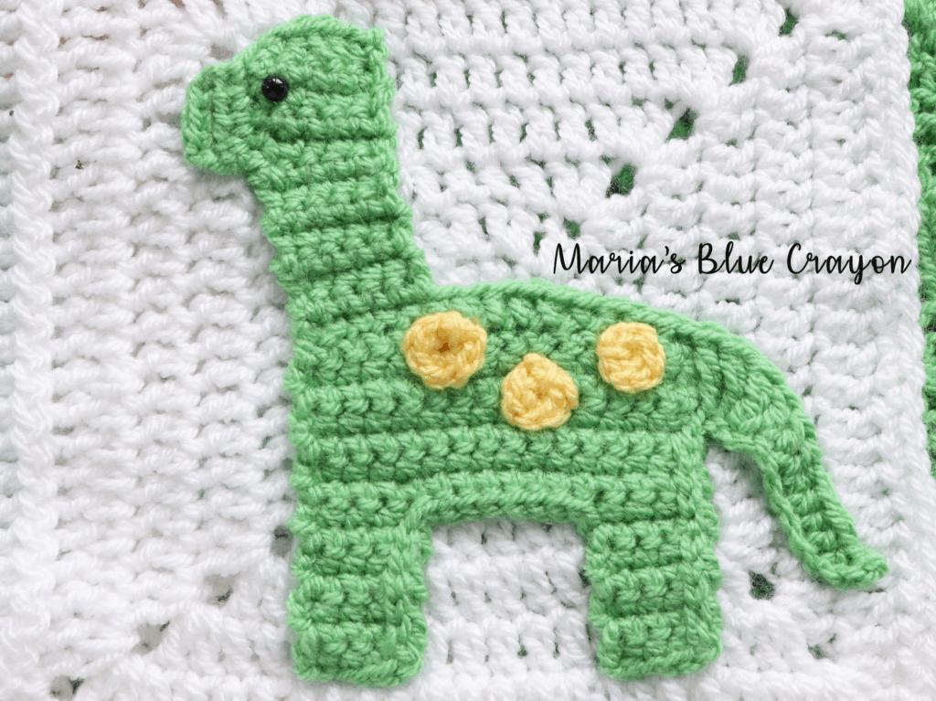 Brontosaurus Dinosaur Crochet Applique