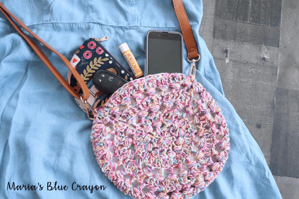 crochet circle cross body purse