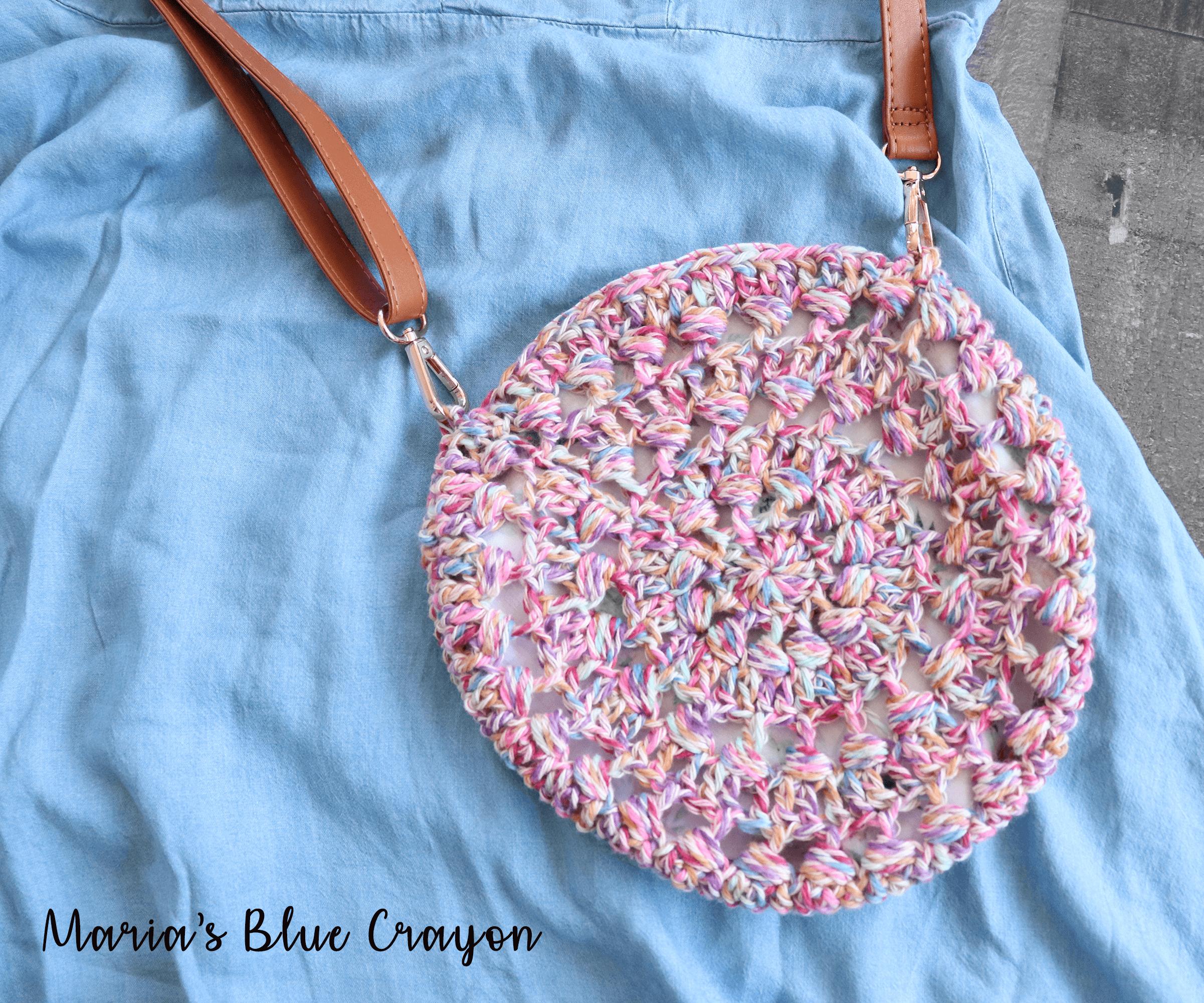 Crochet Crossbody Boho Bag Pattern - Maria's Blue Crayon