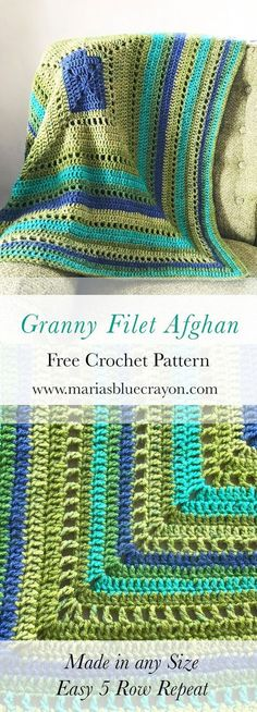 Granny Filet Square Afghan Crochet Pattern - Maria's Blue Crayon