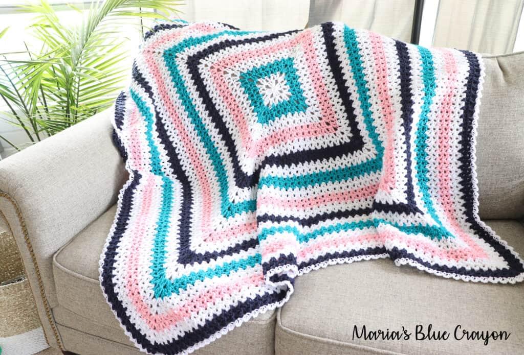 v-stitch granny square crochet blanket