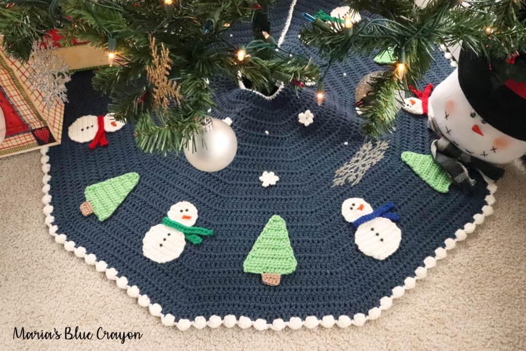 crochet snowman tree skirt