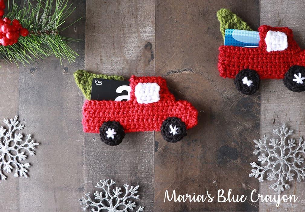Crochet Red Truck Gift Card Holder