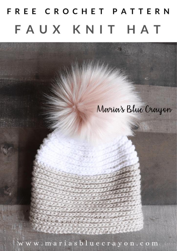 crochet faux knit hat pattern