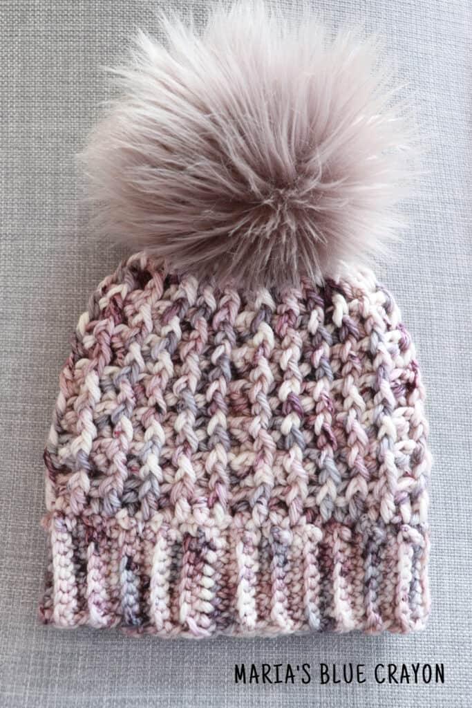 crochet hat pattern with brim and pom pom