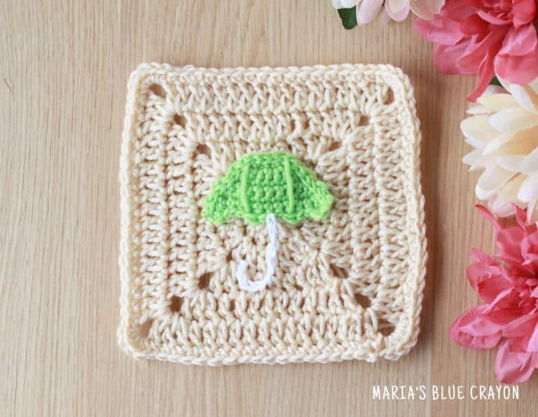 crochet umbrella applique