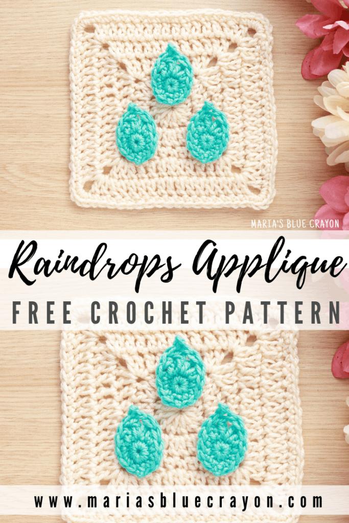 crochet raindrop applique