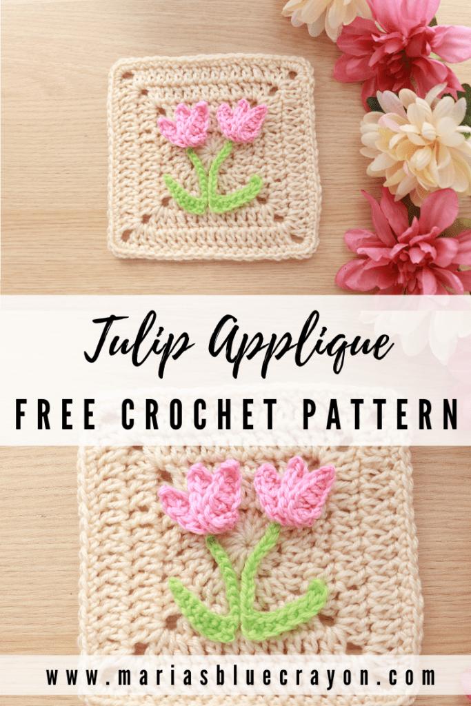 crochet tulip flower applique pattern