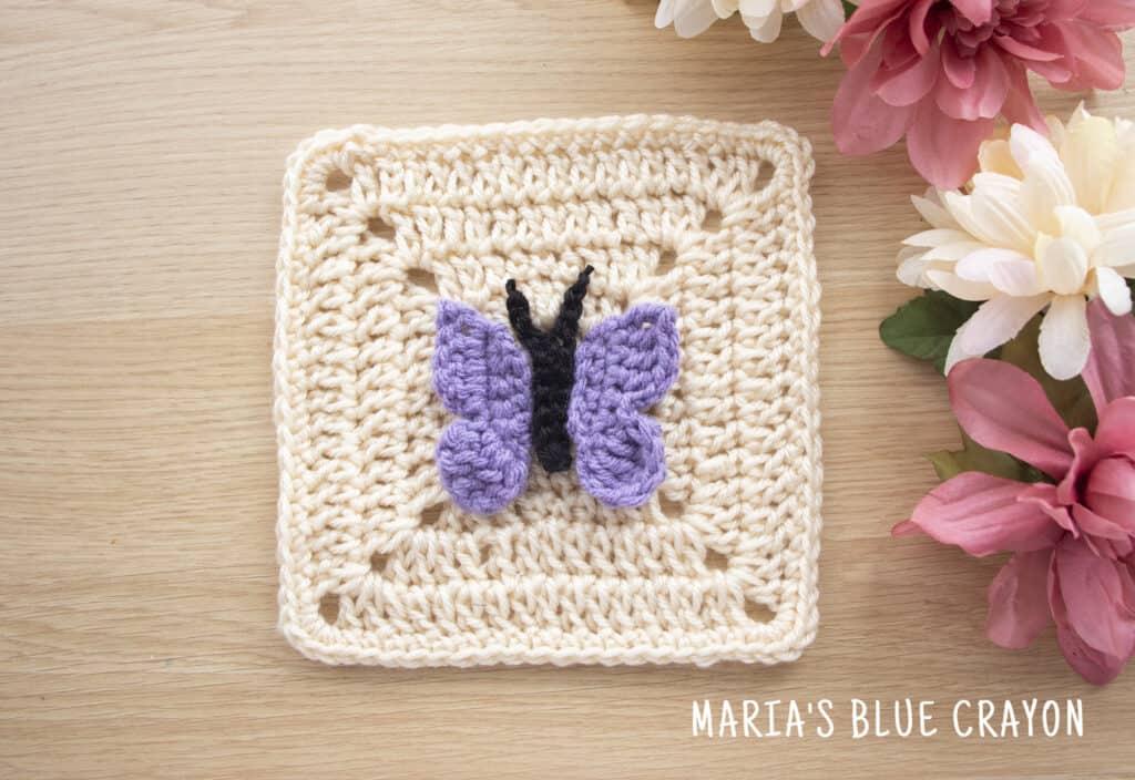 crochet butterfly applique pattern