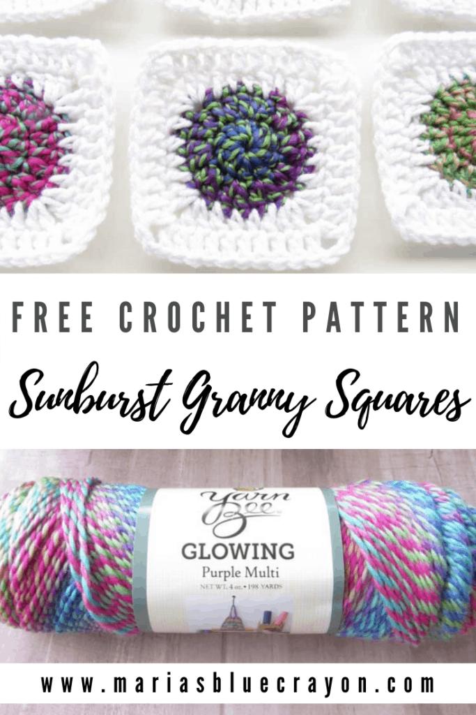 Crochet sunburst granny square pinterest