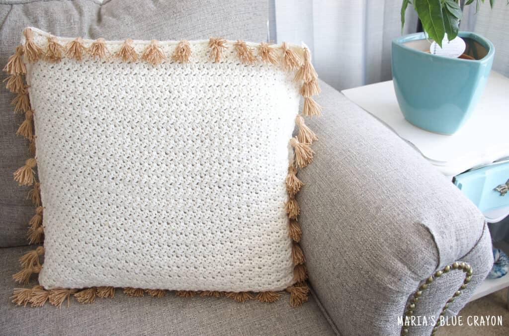 crochet pillow with tassels