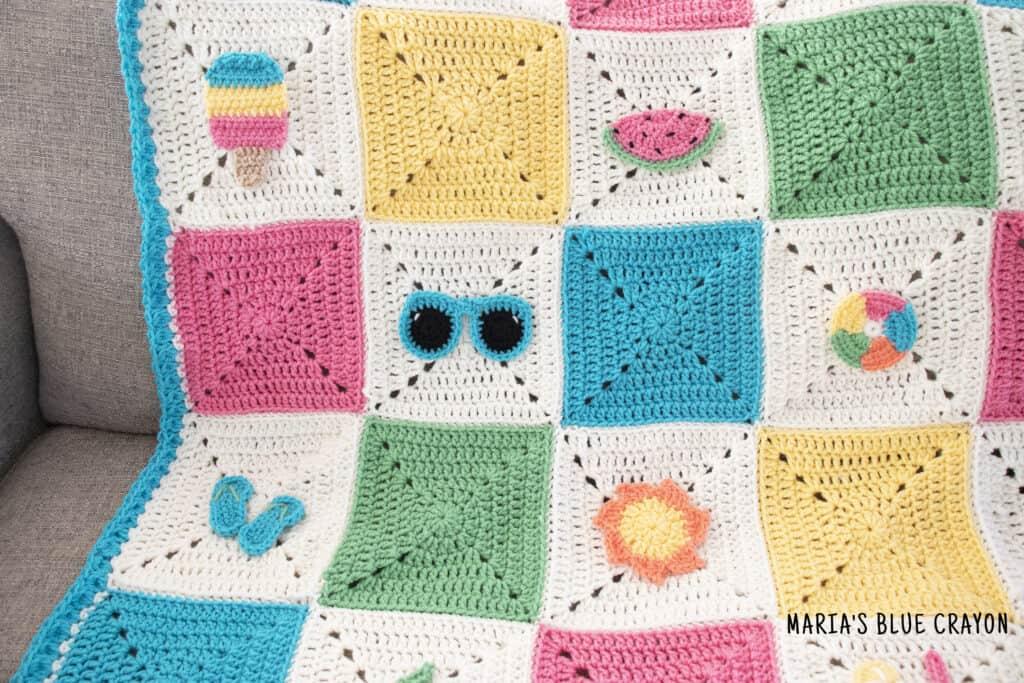crochet summer themed granny square blanket pattern