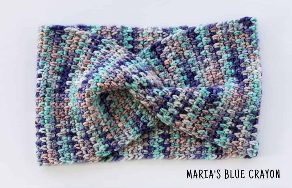 crochet twisted ear warmer with hand dyed yarn