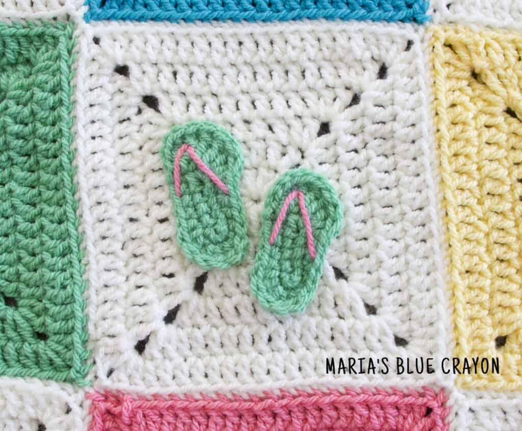crochet flip flops applique pattern