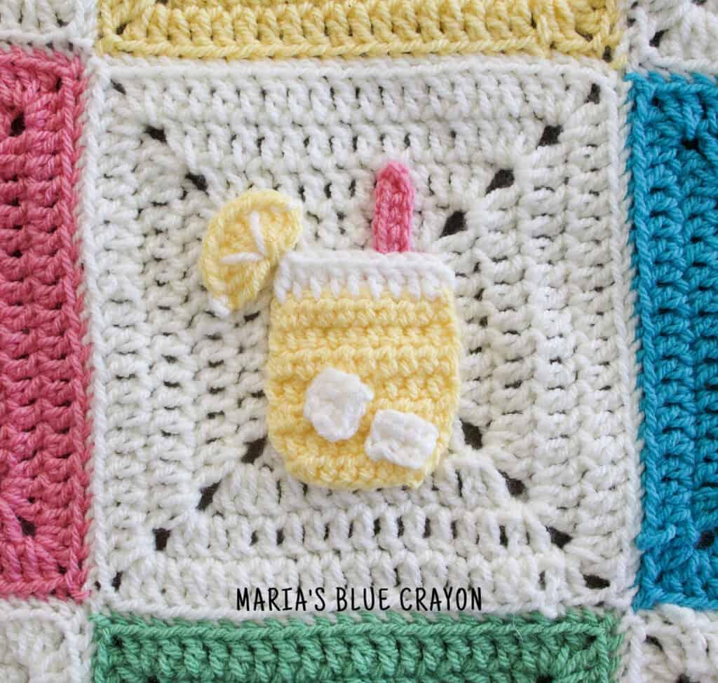 crochet lemonade applique pattern