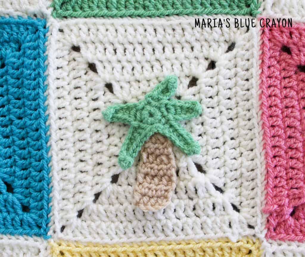 crochet palm tree applique pattern