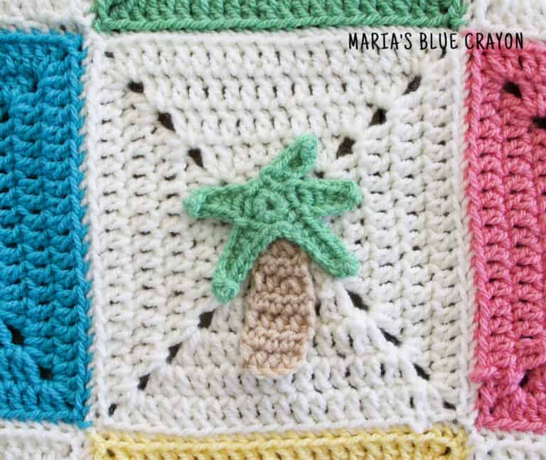 crochet palm tree applique pattern