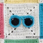 crochet summer sunglasses applique pattern