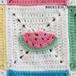 crochet watermelon applique pattern