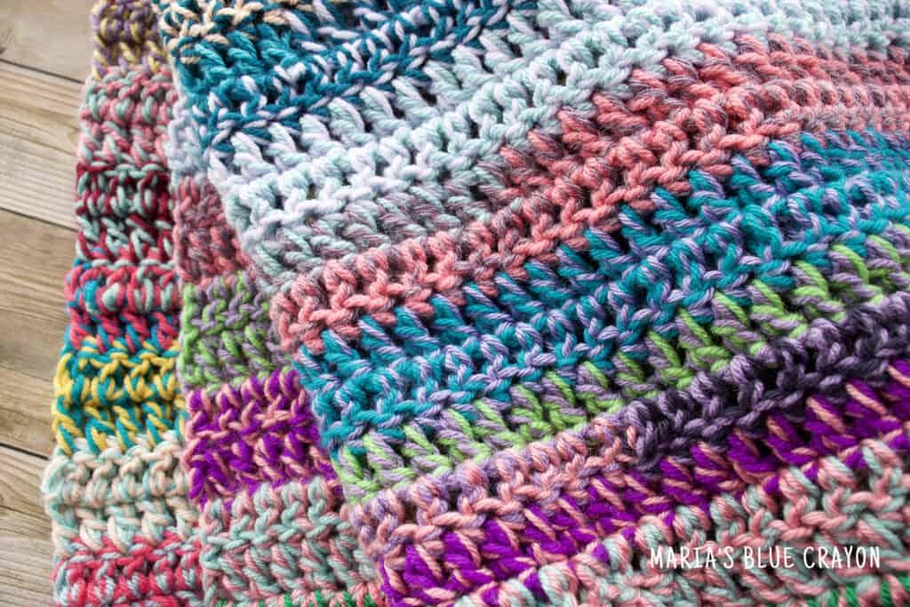 double crochet scrap blanket tutorial