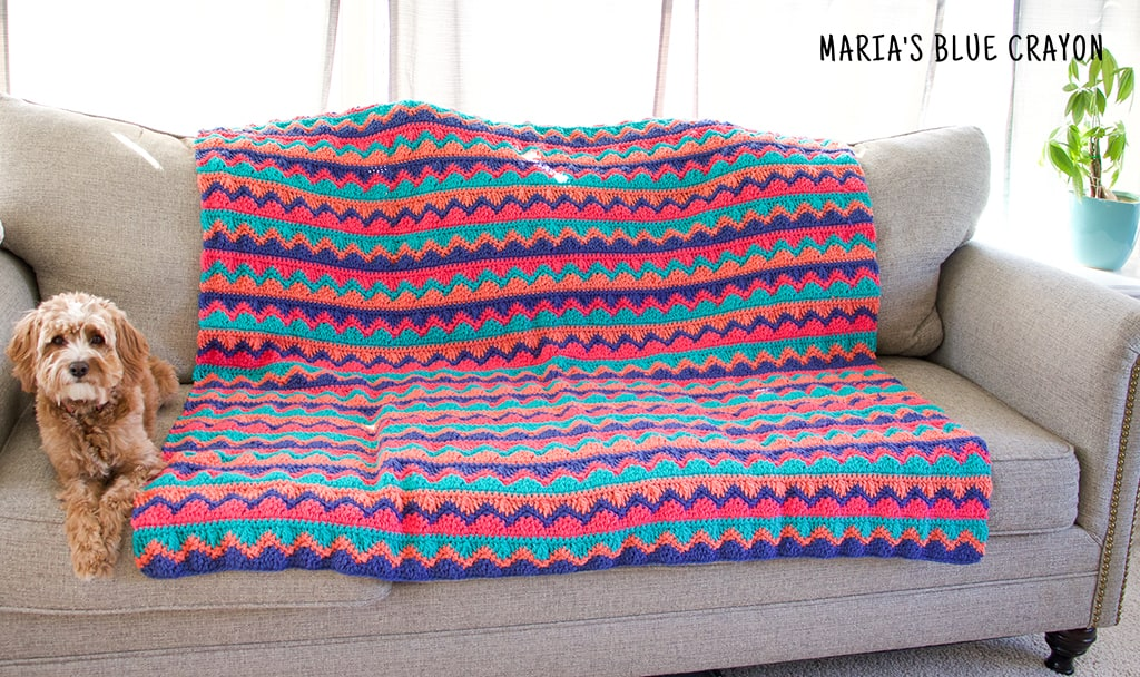 crochet chevron and waves blanket pattern