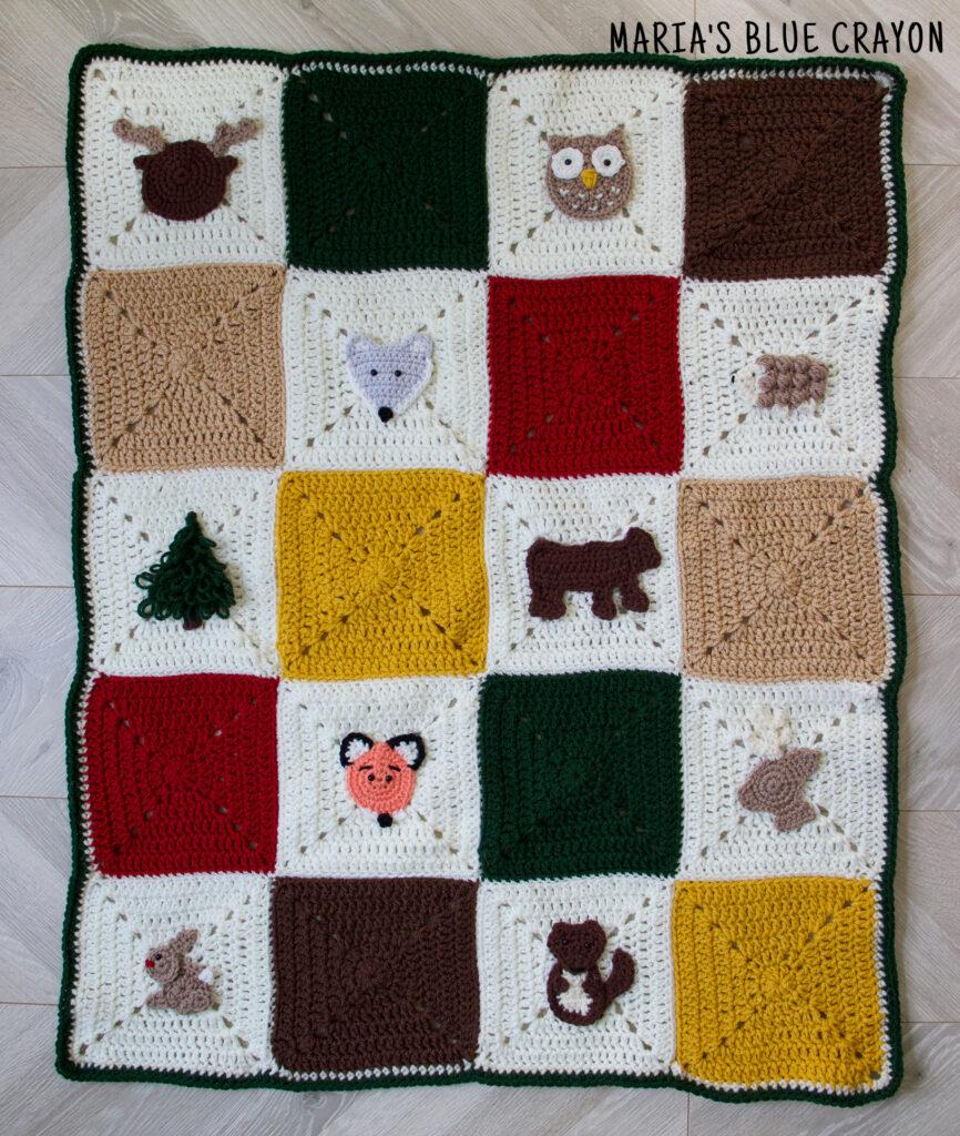 crochet woodland baby blanket