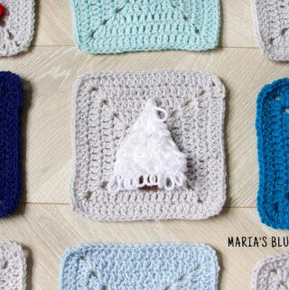 snowy tree crochet applique pattern