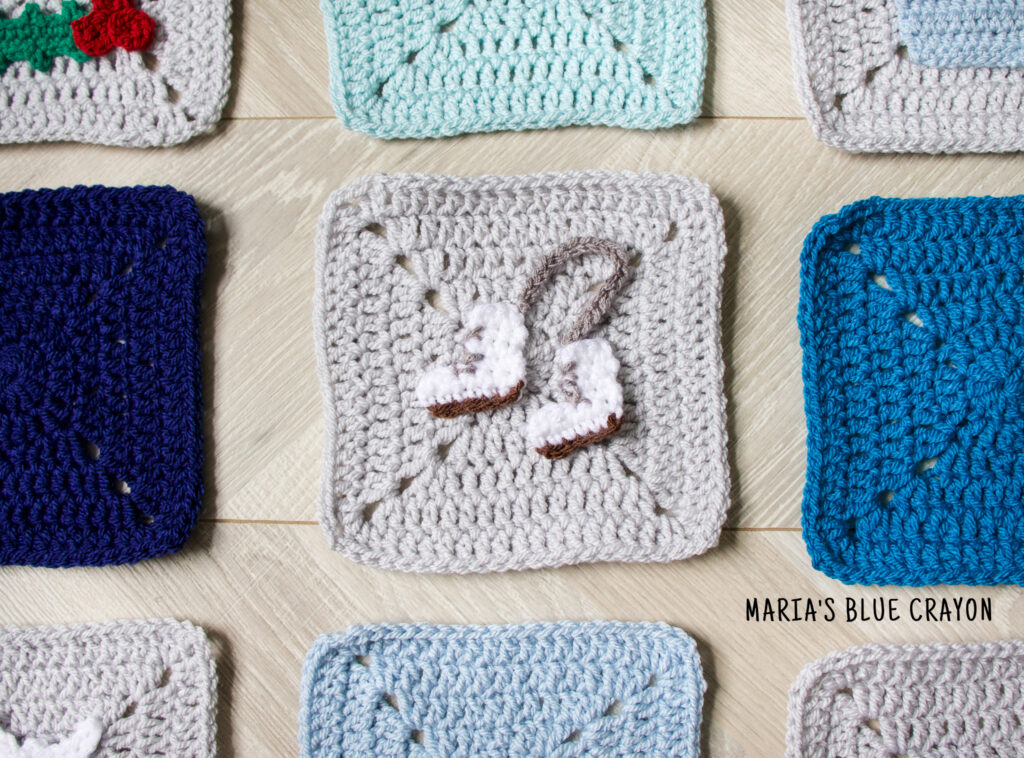 crochet ice skates applique pattern